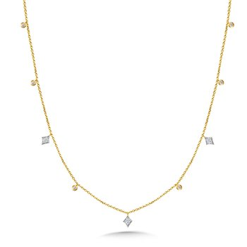 White Gold Kite and Yellow Gold Bezeled Diamond Necklace