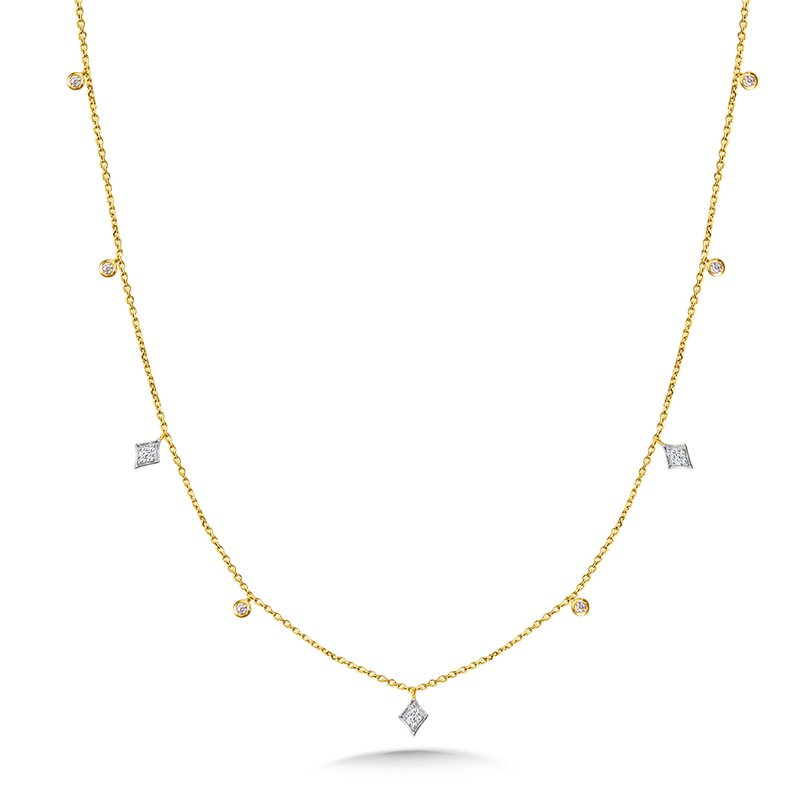 SDC Creations White Gold Kite and Yellow Gold Bezeled Diamond Necklace