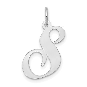 14k White Gold Large Fancy Script Letter S Initial Charm