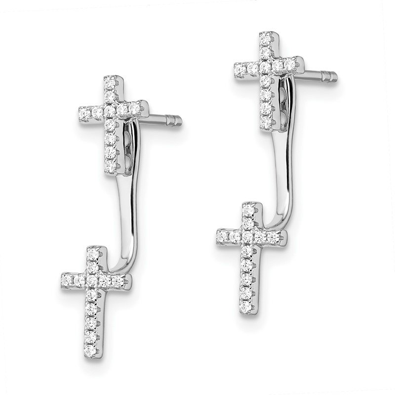 Quality Gold Sterling Silver CZ Brilliant Embers Cross Earrings