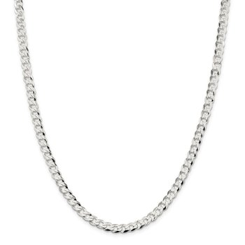 Sterling Silver 5.75mm Flat Curb Chain
