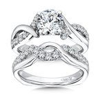 Caro74 Round Diamond Wedding Band in 14K White Gold