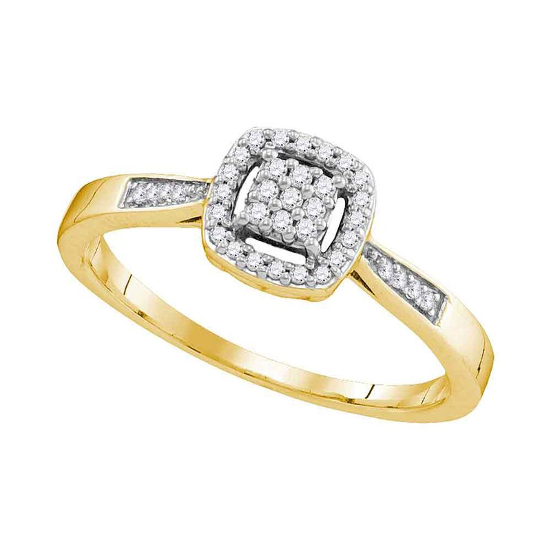 Gold-N-Diamonds, Inc. (Atlanta) 10kt Yellow Gold Womens Round Diamond Square Cluster Ring 1/8 Cttw