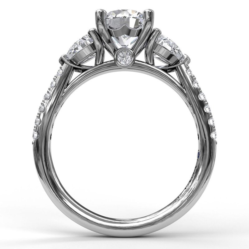 Fana Three-Stone Engagement Ring With Pear Cut Side Stones