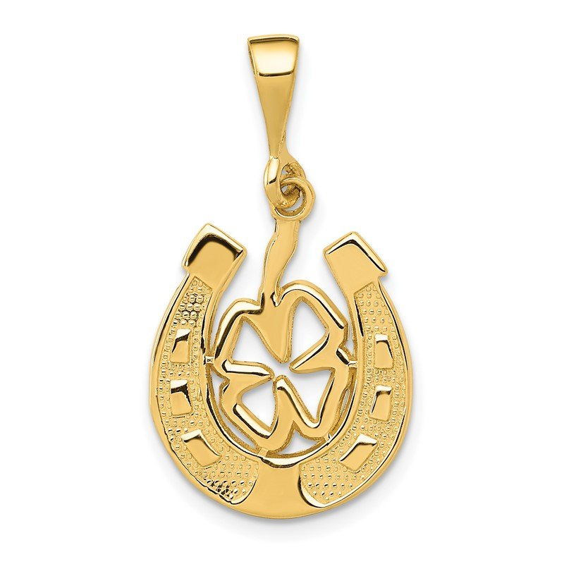 Quality Gold 14k Good Luck Clover Pendant