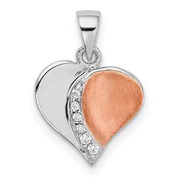 Sterling Silver Rhodium/Rose Gold-plated CZ Heart Pendant