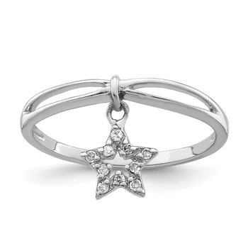 Sterling Silver Rhodium Plated Diamond Star Dangle Ring