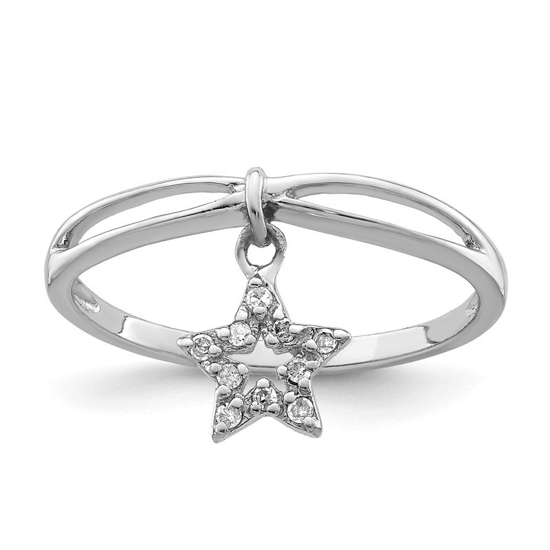 Quality Gold Sterling Silver Rhodium Plated Diamond Star Dangle Ring