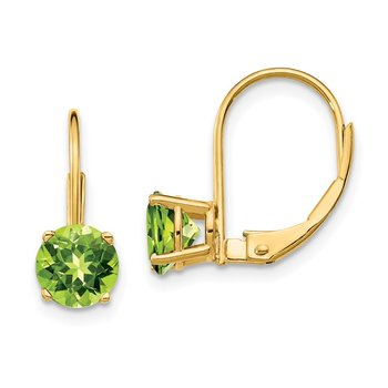 14k 6mm Peridot Leverback Earrings
