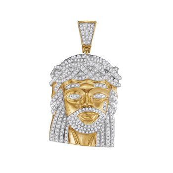 10kt Yellow Gold Mens Round Diamond Jesus Christ Messiah Charm Pendant 1.00 Cttw