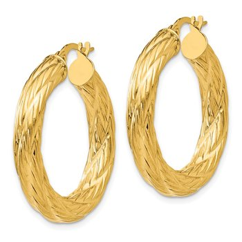 14k Textured Tube Hoop Earrings