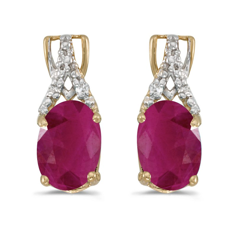 Color Merchants 14k Yellow Gold Oval Ruby And Diamond Earrings
