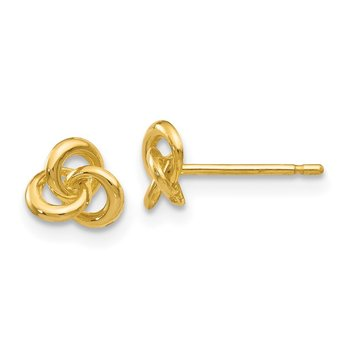 14k Polished Trinity Knot Post Earrings