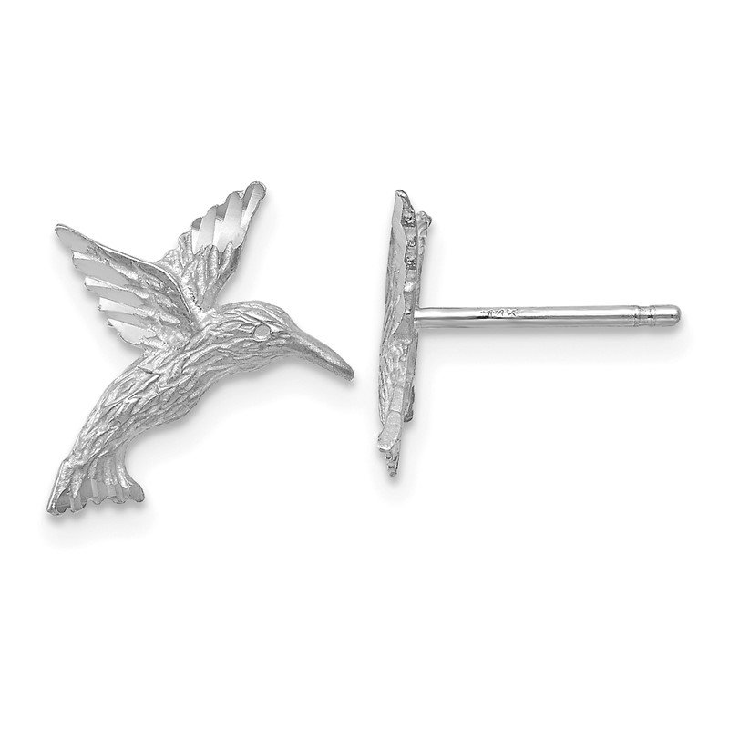 Quality Gold 14k White Gold Hummingbird Earrings