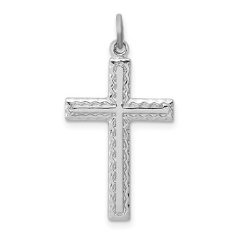 Sterling Silver Rhodium-plated Cross Charm