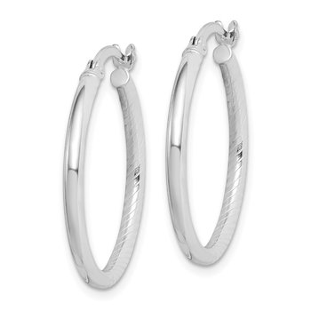 Sterling Silver Textured Polished 2x30mm Hoop Earrings
