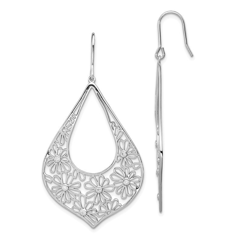 Arizona Diamond Center Collection Sterling Silver Flowers w/ CZ Teardrop Dangle Earrings