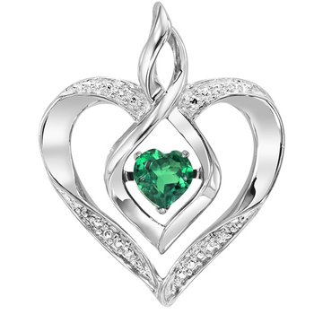 Diamond & Synthetic Emerald Heart Infinity Symbol ROL Rhythm of Love Pendant in Sterling Silver
