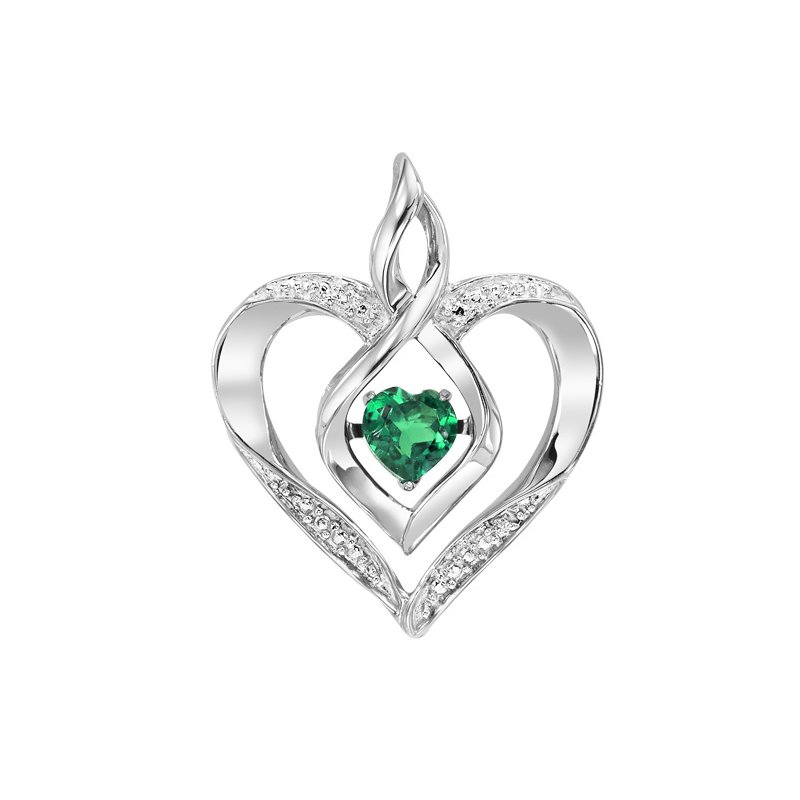 Rhythm of Love Silver Diamond & Created Emerald Pendant
