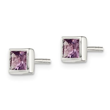 Sterling Silver Squared Purple CZ Earrings