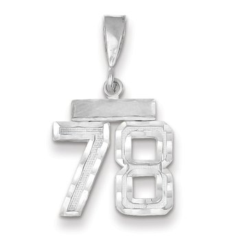 14k White Gold Small Diamond-cut Number 78 Charm