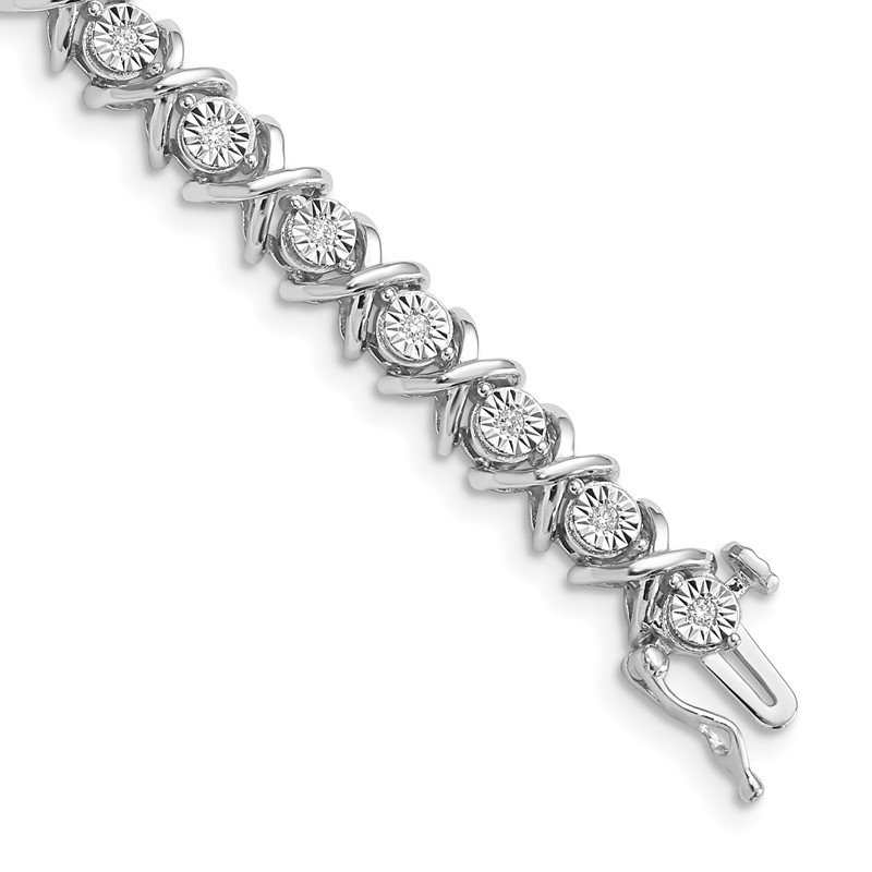 Quality Gold Sterling Silver Rhodium-plated Diam. X Bracelet