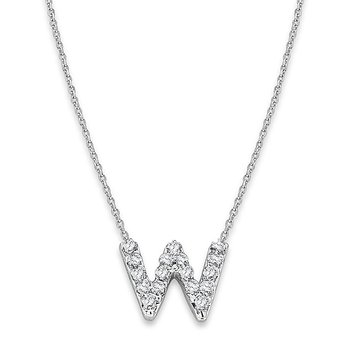 "Diamond Baby Typewriter Initial ""W"" Necklace in 14k White Gold with 17 Diamonds weighing .09ct tw."
