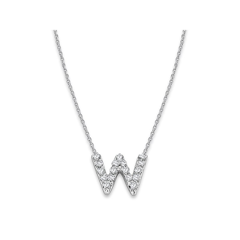 "KC Designs Diamond Baby Typewriter Initial ""W"" Necklace in 14k White Gold with 17 Diamonds weighing .09ct tw."