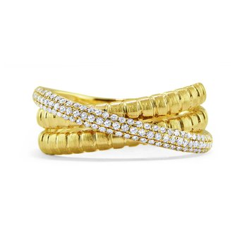 14K Diamond Three Band Ring