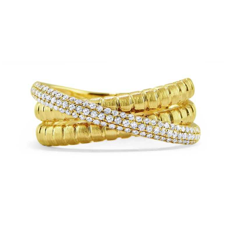 MAZZARESE Fashion 14K Diamond Three Band Ring