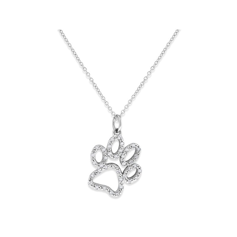 KC Designs Diamond Paw Necklace in 14k White Gold with 38 Diamonds weighing .20ct tw.