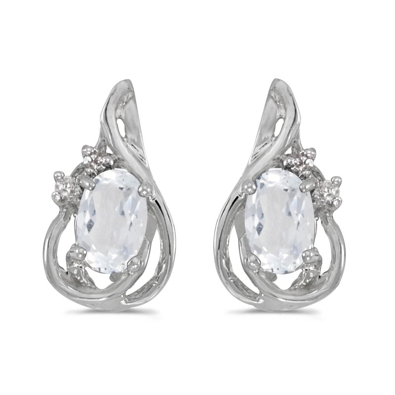 Color Merchants 10k White Gold Oval White Topaz And Diamond Teardrop Earrings