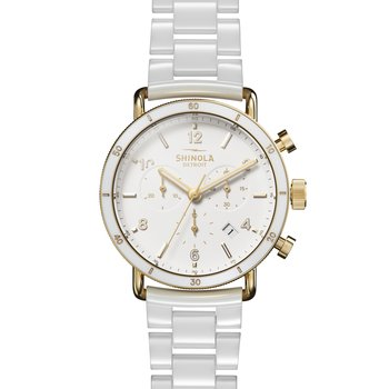 The Canfield Sport 40mm Gold and White Ceramic Bracelet Watch