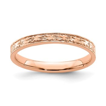14K Rose Polished Floral Band