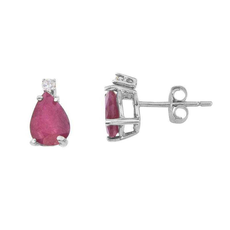 Color Merchants 14k White Gold Pear Shape Ruby And Diamond Earrings