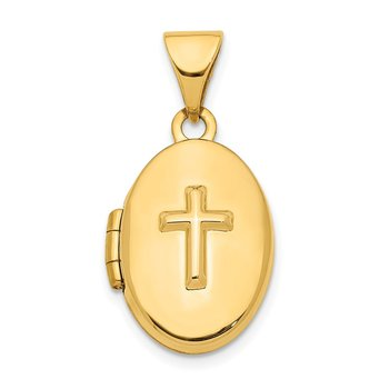 14K Cross 16mm Oval Locket Pendant