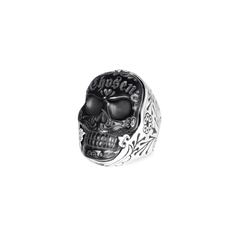 King Baby Large Carved Jet Chosen Skull Ring