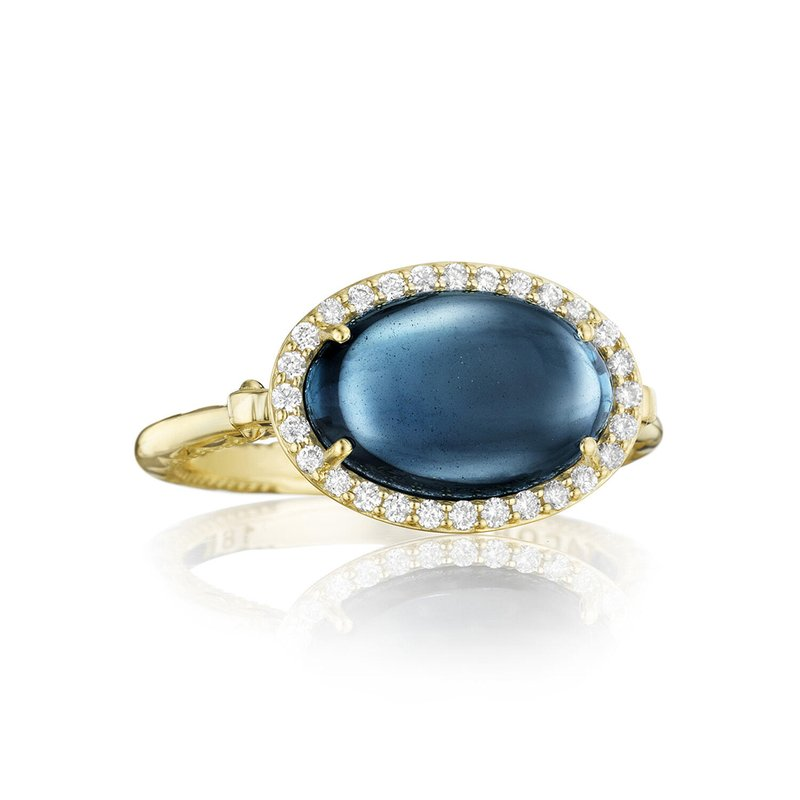 Tacori Fashion Petite Pavé Oval Cabochon Ring featuring Sky Blue Topaz over Hematite