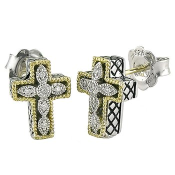 18kt and Sterling Silver Cross Diamond Earrings