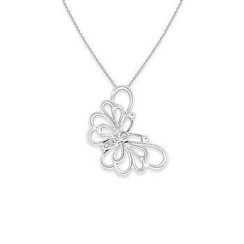 Diamond Butterfly Necklace in 14k White Gold with 4 Diamonds weighing .02ct tw