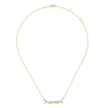 14K Yellow/White Gold Twisted Pavé Diamond Bar Necklace