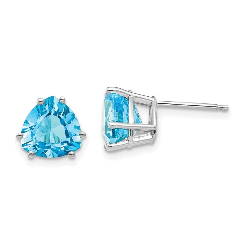 Quality Gold 14k White Gold 8mm Trillion Blue Topaz Earrings