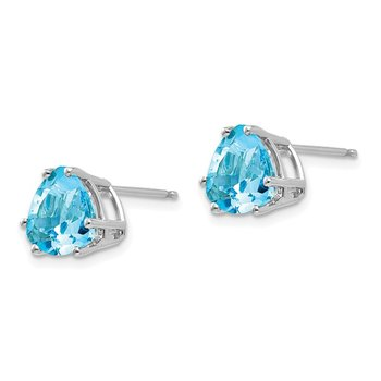 14k White Gold 8mm Trillion Blue Topaz Earrings
