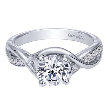 14K White Gold Round Twisted Diamond Engagement Ring