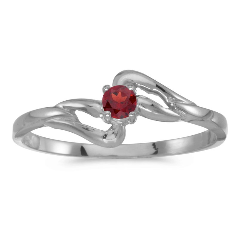 Color Merchants 10k White Gold Round Garnet Ring