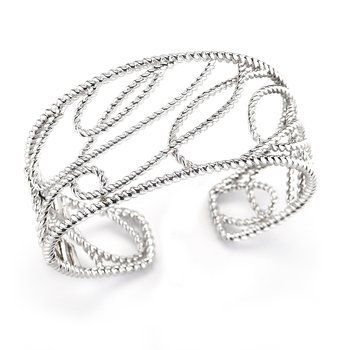 Sterling Silver Cable Design Bangle