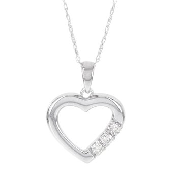 Sterling Silver Three Stone Diamond Accent Heart Pendant