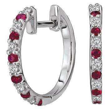Diamond and Gemstone Hoop Earrings