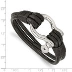 Chisel Stainless Steel Polished Black Leather Multi Strand 8.5in Shackle Bracelet