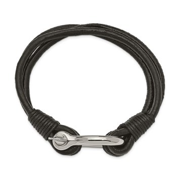 Stainless Steel Polished Black Leather Multi Strand 8.5in Shackle Bracelet